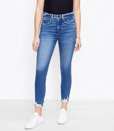 The Chewed Hem High Waist Skinny Ankle Jean in Vivid Dark Indigo Wash