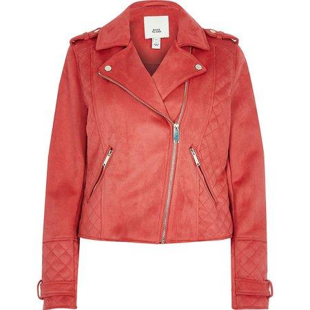 Pink suedette quilted biker jacket   River Island