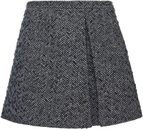 Valentino High-Rise Wool-Blend Mini Skirt
