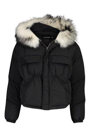 Double Pocket Faux Fur Trim Puffer | Boohoo black