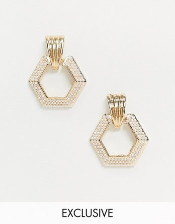 Reclaimed Vintage inspired hexagon drop earrings with pearl detail in gold | ASOS