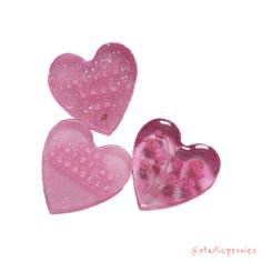 PINK HEART SHAPED BUTTONS
