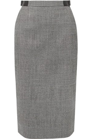 Altuzarra | Bolan leather-trimmed Prince of Wales checked wool-blend skirt | NET-A-PORTER.COM