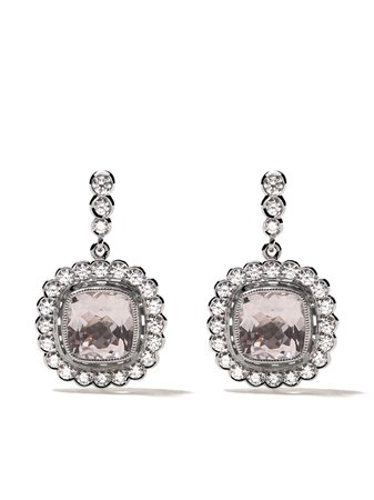 Pink Fairfax & Roberts 18Kt Rose And White Gold Shelly Morganite And Diamond Drop Earrings | Farfetch.com