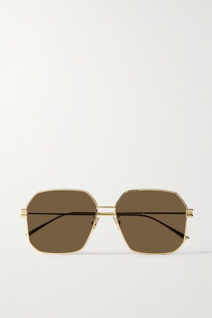 Gold Hexagon-frame gold-tone sunglasses | Bottega Veneta | NET-A-PORTER