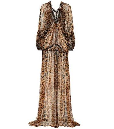 Leopard silk maxi dress