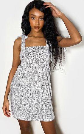 White Dalmatian Print Tie Shoulder Smock Dress | PrettyLittleThing