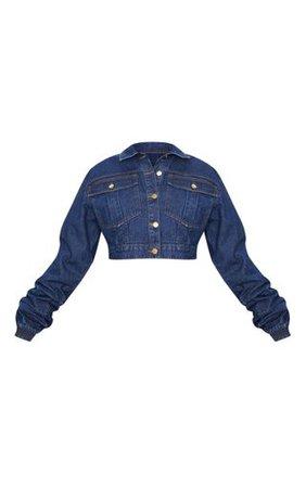 Mid Wash Oversized Cropped Denim Jacket   PrettyLittleThing