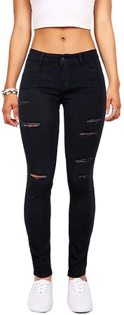 Women's Hight Waisted Butt Lift Stretch Ripped Skinny Jeans Distressed Denim Pants US 6, Black 16 at Amazon Women's Jeans store