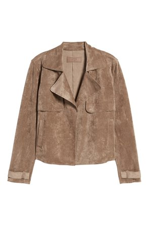 BLANKNYC Seal the Deal Faux Suede Crop Trench | Nordstrom