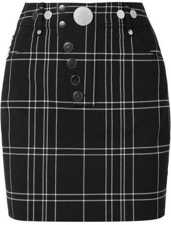 Checked Woven Mini Skirt - Black