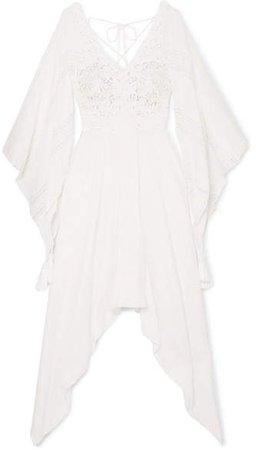 Anjuna - Nerea Lace-paneled Swiss-dot Cotton-blend Dress - White