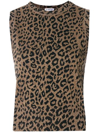 BALENCIAGA leopard print jacquard top