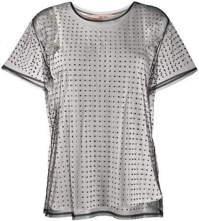 studded sheer mesh top
