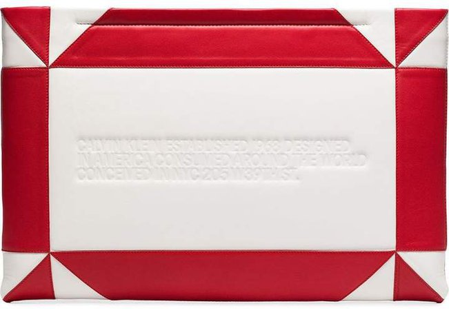 white and red logo embossed geometric leather clutch