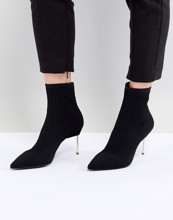 Kurt Geiger London   Kurt Geiger Black Knitted Ankle Boots With Gold Stiletto Heel
