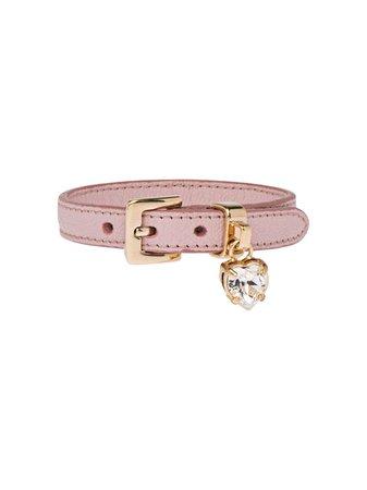 Miu Miu Madras Leather Bracelet With Crystal 5IB253034 Pink   Farfetch