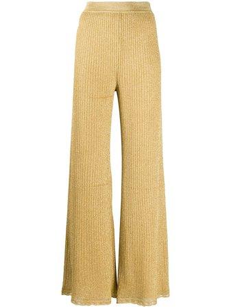 Gold & metallic M Missoni flared ribbed knit trousers - Farfetch