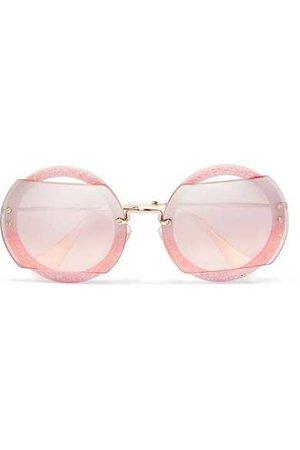 Miu Miu | Cutout round-frame glittered acetate and gold-tone sunglasses | NET-A-PORTER.COM
