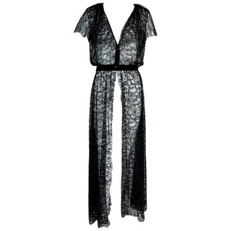 F/W 2006 Chanel 1920's Flapper Style Plunging Sheer Black Lace Dress For Sale at 1stdibs