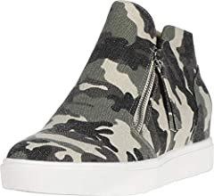 Amazon.com | Steve Madden Caliber Wedge Sneaker Green Camo 7.5 M | Fashion Sneakers