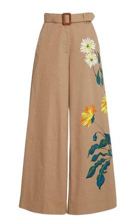 Hand-Painted Cotton Wide-Leg Trousers By Oscar De La Renta | Moda Operandi
