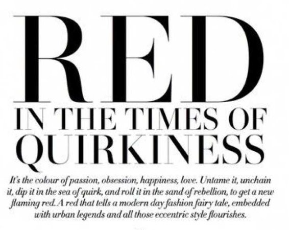 red in the times of quirkiness