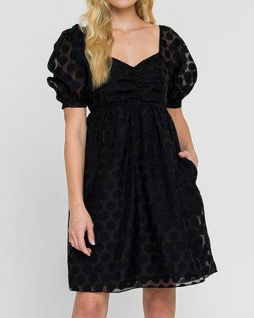 English Factory Dotted Puff Sleeve Mini Dress