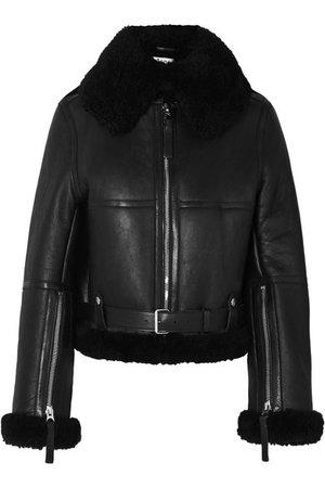 Acne Studios | Raf leather-trimmed shearling jacket | NET-A-PORTER.COM