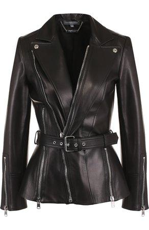 Женская черная кожаная куртка с косой молнией ALEXANDER MCQUEEN — купить за 276000 руб. в интернет-магазине ЦУМ, арт. 507773/Q5KUN