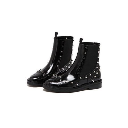 Black Wingtop Boots Patent Leather Round Toe Studs Chelsea Boots