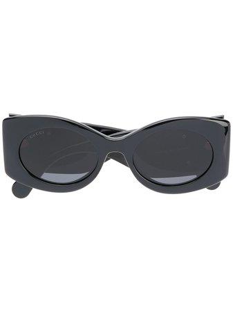 Gucci Eyewear matelassé-effect oval-frame sunglasses black GG0810S001 - Farfetch
