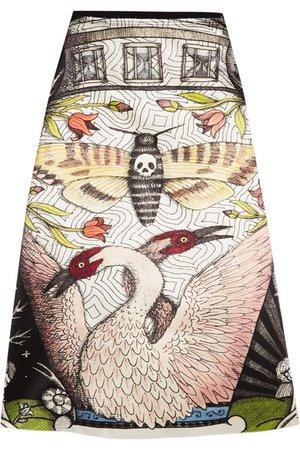 Gucci | Printed duchesse silk-satin midi skirt | NET-A-PORTER.COM