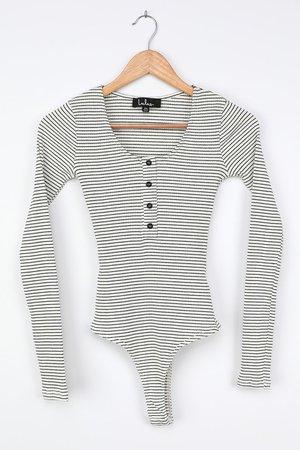 White Striped Bodysuit - Henley Bodysuit - Long Sleeve Bodysuit