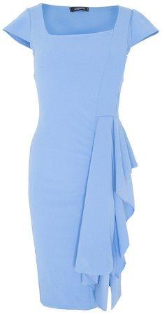*Feverfish Blue Asymmetric Frill Dress