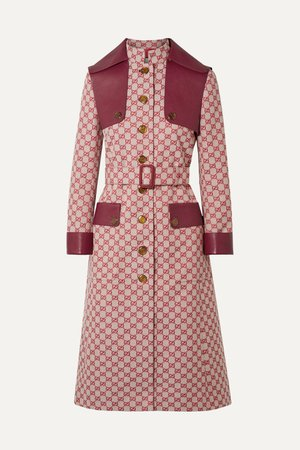 Red Leather-trimmed belted cotton-blend canvas trench coat | Gucci | NET-A-PORTER