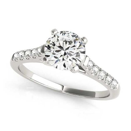 engagement ring round diamond small diamons on side - Google Search