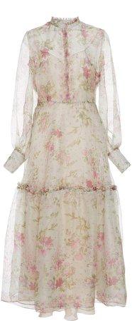 Floral Print Silk Organza Dress