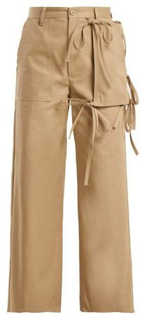 Utility Pocket Cotton Chino Trousers - Womens - Beige
