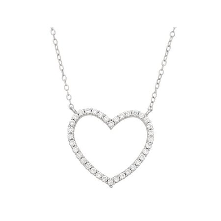 "Forever New - CZ Sterling Silver Open Heart Necklace, 18"" - Walmart.com - Walmart.com"