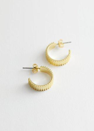Stripe Embossed Mini Hoop Earrings - Gold - Hoops - & Other Stories US