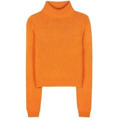 Acne Studios Sabia Wool Turtleneck Sweater (£255) ❤ liked on Polyvore featuring tops, sweaters, orange, shirts, shirt tops, shirt sweater, turtleneck shirt, turtleneck top and orange shirt