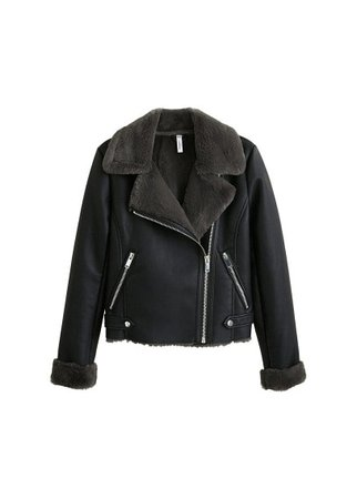 MANGO Faux fur biker jacket