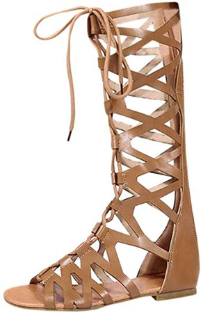 Amazon.com: Women Gladiator Sandals - Summer Strappy Lace Up Open Toe Knee High Shoes Zip Flat Sandal Boot Brown: Clothing