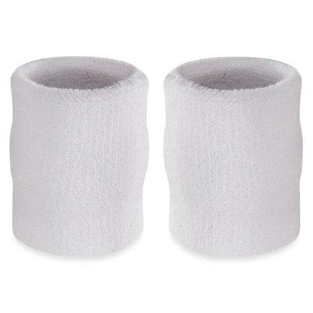 Suddora 4 Inch Arm Sweatbands - Thick Cotton Armbands for Gymnastics, Basketball, Tennis, Football (White)