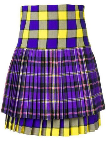 VERSACE pleated tartan mini skirt