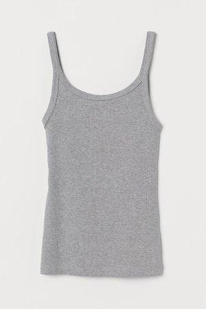 Ribbed Jersey Tank Top - Light gray melange - Ladies | H&M US
