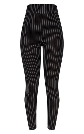 Black Pinstripe High Waisted Leggings | PrettyLittleThing USA