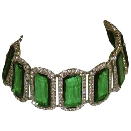 Rhinestone and Faux Emerald Choker Necklace : SimplyGlamour | Ruby Lane