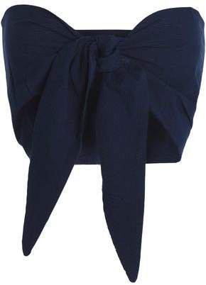+ Staud Baia Convertible Cotton-seersucker Top